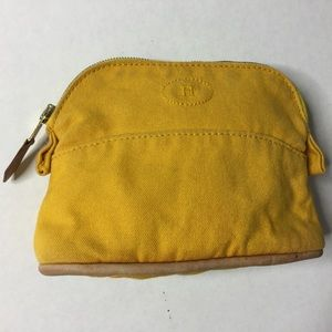 HERMÈS Cosmetic Bag Sunflower Yellow Canvas Tan
